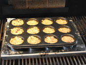 Baked muffins on the grill